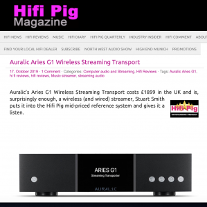 Auralic G1 Aries awarded Outstanding Product by Hi-Fi Pig